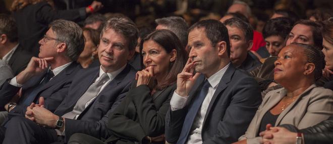 Arnaud Montebourg, Anne Hidalgo, Benoît Hamon et Christiane Taubira ont chacun une vision différente de l'avenir du PS. ©Stéphane ROUPPERT