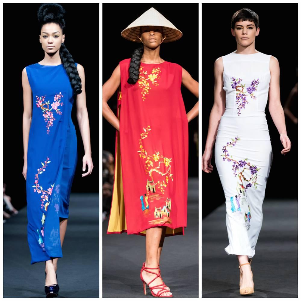 La dernière collection de la créatrice Franco-sénégalaise 'Mekong Colletion' mêle influences asiatiques, surtout vietnamiennes.  ©  DFW
