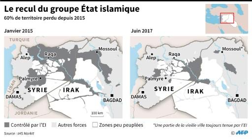 Le recul du groupe Etat islamique © Simon MALFATTO AFP