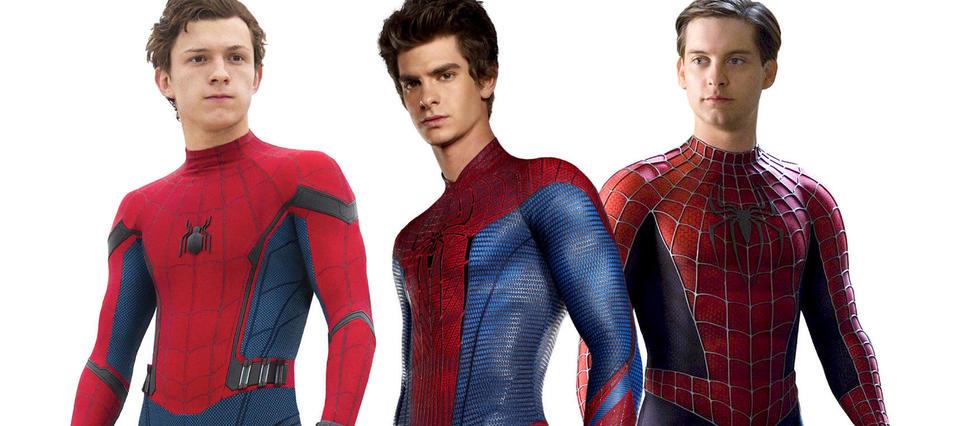 2017. Tom Holland, le plus juvénil dans «Homecoming». 2012. Andrew Garfield, le plus tourmenté dans «The Amazing Spider-Man». 2002. Tobey Maguire, le plus classique dans «Spider-Man»