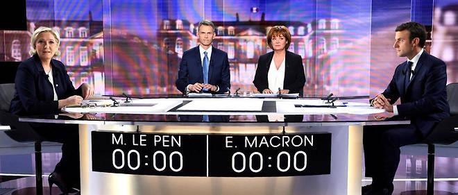 Marine Le Pen face à Emmanuel Macron.