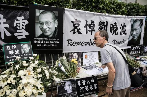Un mémorial en hommage au Prix Nobel de la Paix Liu Xiaobo, le 15 juillet 2017 à Hong Kong © DALE DE LA REY AFP