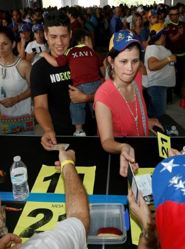Des Vénézuéliens votent à la consultation populaire organisée par l'opposition contre le président Maduro, le 16 juillet 2017 à Miami © RHONA WISE                       AFP