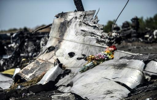 Des fleurs déposées sur la carcasse du Boeing 777 de la Malaysia Airlines (vol MH17), près du village de Hrabove dans l'est de l'Ukraine, le 26 juillet 2014 © BULENT KILIC AFP/Archives