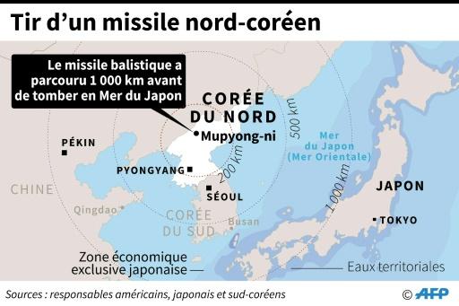 Tirs de missiles de la Corée du Nord © AFP   AFP