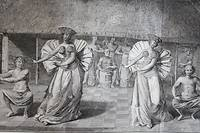 Danse à Tahiti, d'après une gravure de John Webber (1785).