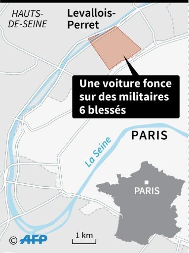 Localisation de Levallois-Perret où une voiture a foncé mercredi matin sur des militaires de l'opération Sentinelle © Sophie RAMIS AFP