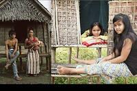Jeunes filles kreung devant leur chambre d'amour.