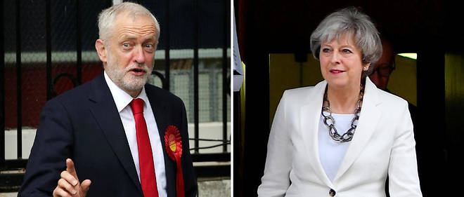 Jeremy Corbyn et Theresa May le 8 juin 2017.