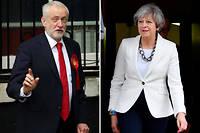 Jeremy Corbyn et Theresa May le8 juin 2017. ©DANIEL LEAL-OLIVAS
