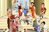 La fine fleur de la Silicon Valley : 1er rang, de g. à dr. : Reed Hastings (Netflix), Elon Musk (SpaceX), Ray Kurzweil (Google), Frederick Terman (père de la Silicon Valley), Brian Chesky (Airbnb) ; 2e rang, de g. à dr. : Peter Thiel (cofondateur de PayPal), Steve Jobs (Apple), Mark Zuckerberg (Facebook), Sergey Brin (Google), Sam Altman (Y Combinator).