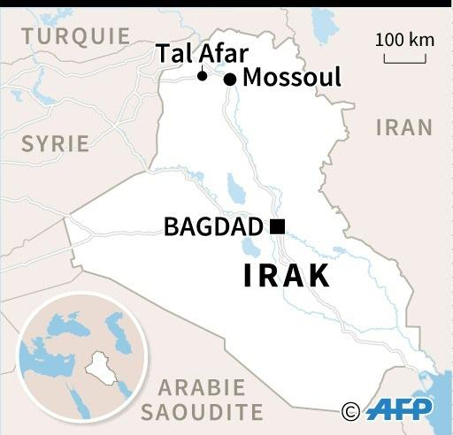 Carte d'Irak localisant Tal Afar, et les routes menant à la ville stratégique de Mossoul et à la Syrie © Iris ROYER DE VERICOURT AFP