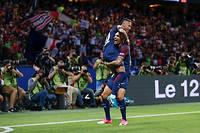 Neymar a marqué deux buts pour son premier match avec le PSG au Parc des princes. ©STEPHANE ALLAMAN