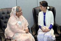 Sheikh Hasina, Premiere ministre du Bangladesh, et Aung San Suu Kyi, la dirigeante birmane.