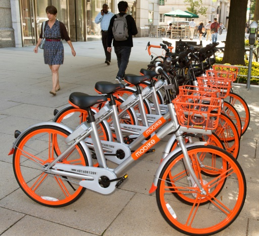 Des vélos en libre service Mobike, le 20 septembre 2017 à Washington  © PAUL J. RICHARDS AFP
