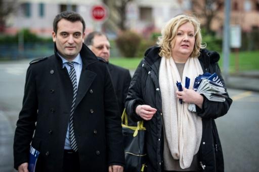 Florian Philippot (g) et Sophie Montel, le 1er décembre 2015 à Delle dans le Territoire de Belfort © SEBASTIEN BOZON AFP/Archives