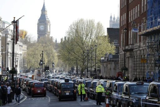 Manifestation de taxis à Londres contre les services d'Uber, le 6 avril 2017  © Adrian DENNIS AFP/Archives