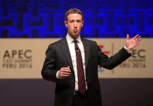 Le patron de Facebook, Mark Zuckerberg, lors d'un discours l'occasion du Forum de coopération économique Asie-Pacifique (APEC) à Lima, le 19 novembre 2016 © Rodrigo BUENDIA                      AFP/Archives