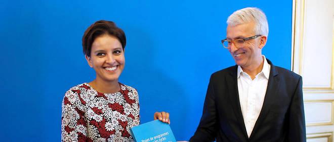 Michel Lussault et l'ancienne ministre de l'Éducation, Najat Vallaud-Belkacem.