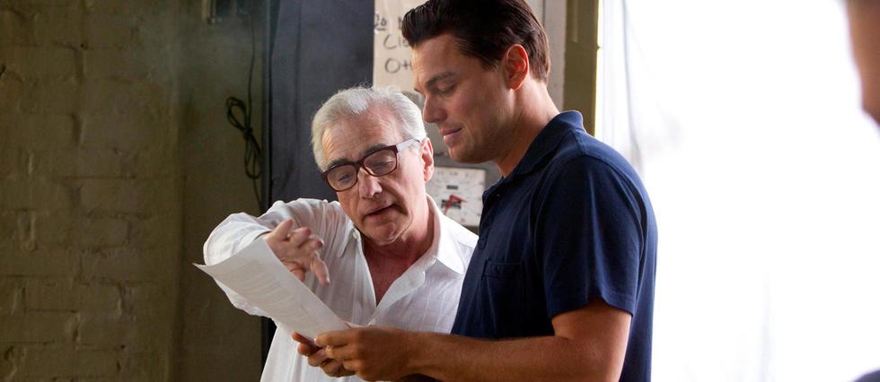 Leonardo DiCaprio et Martin Scorsese sur le tournage du Loup de Wall Street.