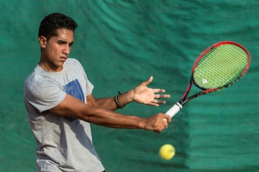 Le jeune prodige du tennis égyptien Youssef Hossam, à l'entraînement au Caire, le 19 septembre 2017 © KHALED DESOUKI AFP/Archives