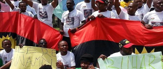 Une centaine de Biafrais manifestent au quartier biafra d'Abidjan, le 23 septembre 2016.