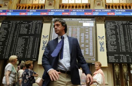 A la Bourse de Madrid, le 24 juin 2016. Jeudi matin, la place madrilène tentait de se reprendre au lendemain d'une forte baisse © CURTO DE LA TORRE AFP/Archives