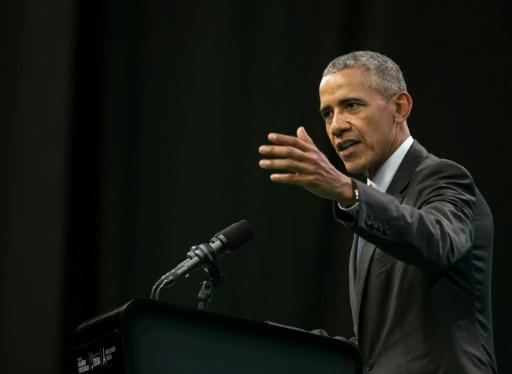 L'ancien président américain Barack Obama pendant un discours au Green Economy Summit 2017, à Cordoba (Argentine), le 6 octobre 2017 © Pablo Gasparini AFP/Archives
