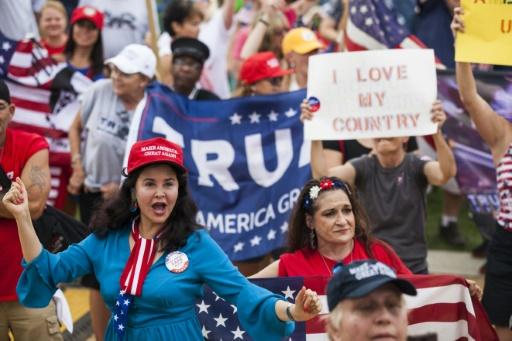 Des partisans de Donald Trump rassemblés pendant un rallye de soutien au président américain à Washington, le 16 septembre 2017 © ZACH GIBSON AFP/Archives
