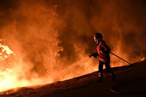 Un pompier combattant les flammes à Louzan, au Portugal, le 16 octobre 2017 © Francisco LEONG AFP/Archives