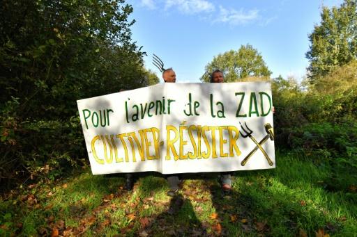 Rassemblement d'opposants au projet d'aéroport de Notre-Dame-des-Landes (Loire-Atlantique), le 21 octobre 2017 sur le site © LOIC VENANCE AFP