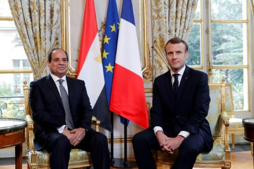Emmanuel Macron au côté du président égyptien Abdel Fattah al-Sissi, à l'Elysée, le 24 octobre 2017 © PHILIPPE WOJAZER POOL/AFP