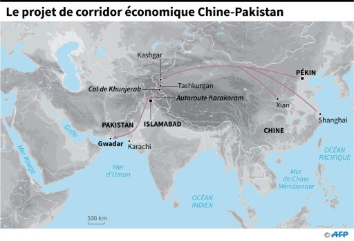 Le projet de corridor économique Chine-Pakistan © AFP   AFP