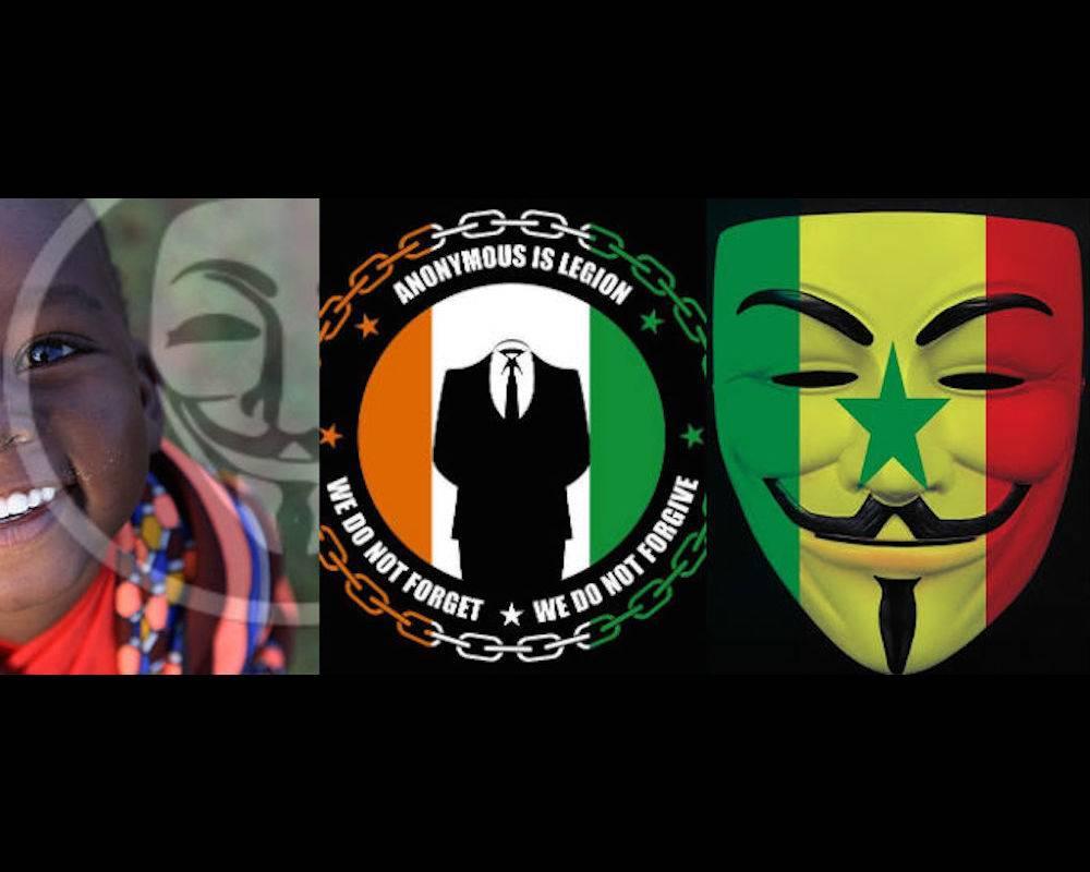 Les logos des cyberhacktivistes « Anonymous Africa », « Anonymous Côte d'Ivoire », et « Anonymous Sénégal » ©  Facebook, Twitter