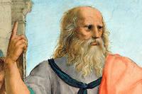 Platon (428-348 avant J.-C.), philosophe grec, montrant le ciel.
