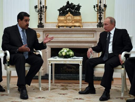 Le président vénézuélien Nicolas Maduro et le président russe Vladimir Poutine, au Kremlin à Moscou, le 4 octobre 2017 © Yuri KADOBNOV POOL/AFP/Archives