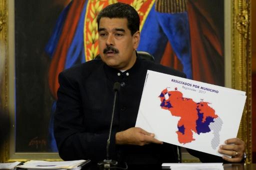 Le président vénézuélien Nicolas Maduro lors d'une conférence de presse à Caracas, le 17 octobre 2017 © FEDERICO PARRA AFP