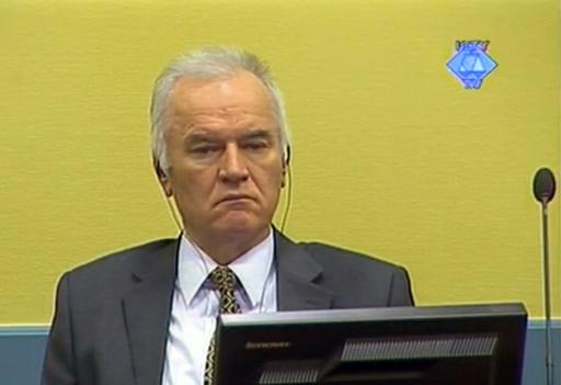 Une capture d'écran distribuée par le tribunal pénal international pour l'ex-Yougoslavie (TPIY) montrant Ratko Mladic à La Haye, le 16 mai 2012 © HO COURTESY OF THE ICTY/AFP/Archives