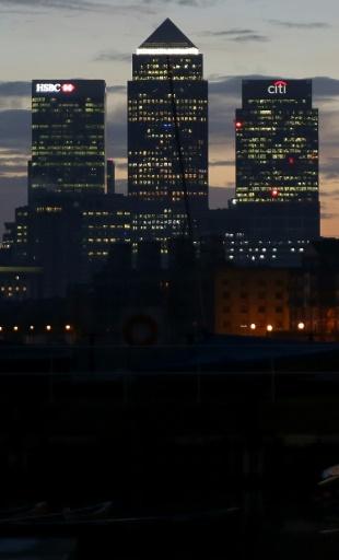 Le district financier de Canary Wharf à Londres, avec la tour de l'ABE reconnaissable à son toit pointu © Daniel LEAL-OLIVAS AFP/Archives