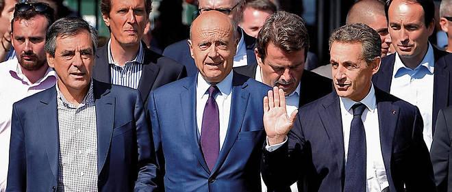 Prétendants. Les trois poids lourdsde la droite, François Fillon, Alain Juppé et Nicolas Sarkozy àLaBaule, le 5septembre 2015. Tous trois seront candidats à la primaire de la droite et du centre, en novembre 2016.