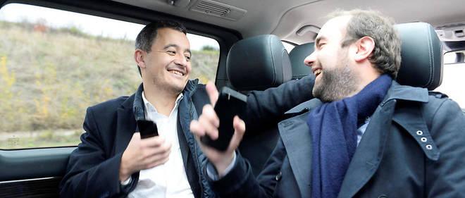 Inséparables. Gérald Darmanin, ministre de l'Action et des Comptes publics, et Sébastien Lecornu, secrétaire d'État auprès du ministre de la Transition écologique etsolidaire, en route pour le premier conseil de LaRépublique en marche, le 18 novembre, à Lyon.