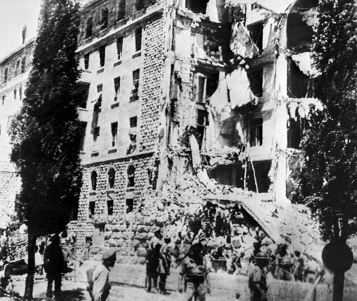 L'hôtel King David détruit par un attentat à la bombe visant les bureaux des autorités britanniques perpétré par l'organisation extrémiste juive de l'Irgoun, le 22 juillet 1946 à Jérusalem ©  INTERCONTINENTAL/AFP/Archives