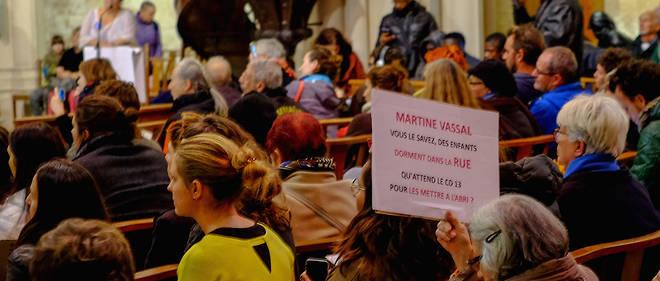 À l'église Saint-Ferréol à Marseille, en novembre 2017, des personnes ont manifesté à côté des migrants pour une amélioration des conditions d'accompagnement des migrants mineurs.