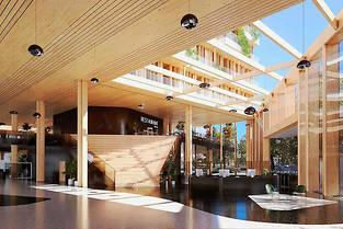 XXL. Avec ses 118000mètres carrés répartis sur 5bâtiments, l'Arboretum Nanterre-la Défense (ici, la grande halle) devrait être le plus grand espace de bureaux en bois massif jamais construit.