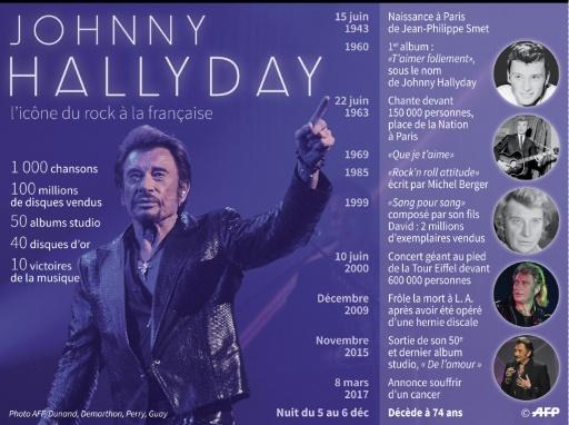Johnny Hallyday, l'icône du rock à la française © Paul DEFOSSEUX AFP