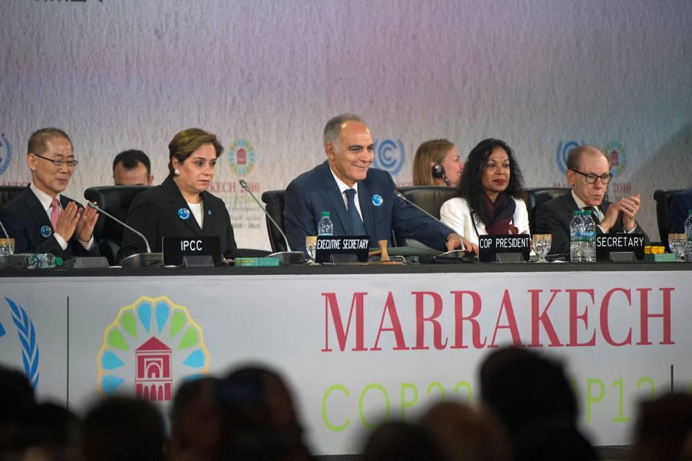 Pour Mohammed Taleb, les grandes conférences dédiées au climat, comme ici la COP22 de Marrakech, semblent en décalage avec les réalités que vivent les populations directement touchées par le réchauffement climatique. ©  AFP