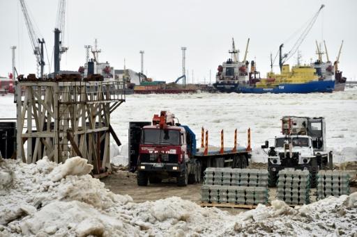 Le chantier de construction du mégaprojet Yamal, dans l'Arctique russe, le 5 mai 2016 © KIRILL KUDRYAVTSEV AFP/Archives