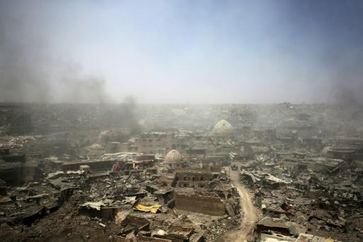 Une photo montre les énormes  destructions dans la vieille ville de Mossoul, le 9 juillet 2017 © AHMAD AL-RUBAYE AFP