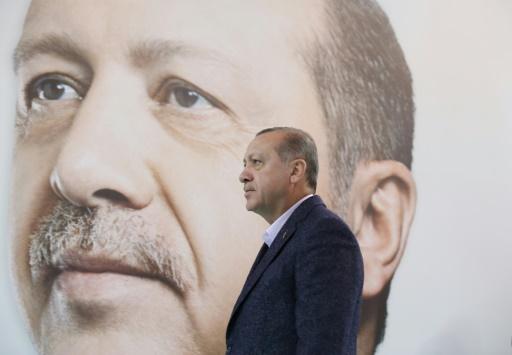 Photo fournie par le service de presse présidentiel du président turc Recep Tayyip Erdogan, le 10 décembre 2017 lors d'un discours à Sivas © - TURKISH PRESIDENTIAL PRESS SERVICE/AFP
