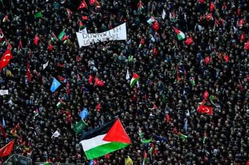 Des manifestants pro-palestiniens protestent à Istanbul contre les Etats-Unis et Israël, le 10 décembre 2017 © YASIN AKGUL AFP